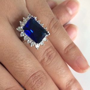 925 Sterling Sapphire engagement ring